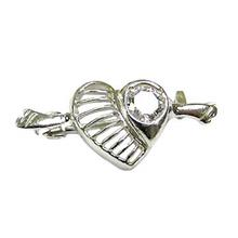 Heart Sterling Silver Brooch w CZ - BR4755S