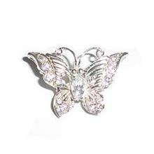 CZ Sterling Silver Butterfly Brooch - BR8335