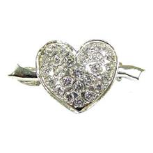 Heart CZ Sterling Silver Brooch - BR1286S