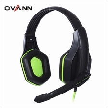OVANN X1 WIRED GAMING HEADSETS WITH MICROPHONE VOLUME (BLACK AND GREEN)