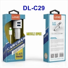 Original LDNIO 3.4A Dual USB Port DL-C29 Car Charger iPhone Samsung
