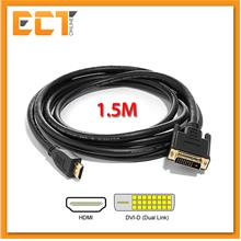 HDMI Male to DVI Male 24+1 1.5 Meter Cable with Screw Hole