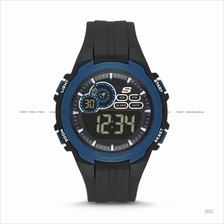 SKECHERS Watch SR1091 Men's Digital Sport Negative Silicone Black Blue