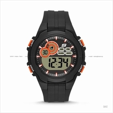 SKECHERS Watch SR1092 Men's Digital Sport Silicone Strap Black Orange