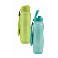Tupperware  Slim Eco Bottle (2) 1L with Strap -Green & Blue
