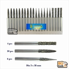 20pcs Dia 3 x 38mm Tungsten High Speed Steel Rotary File Electric Grin