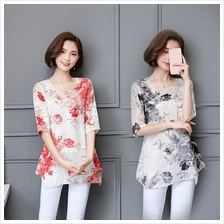 Women Chiffon Blouse Casual Flower Printed O-Neck Short Sleeve