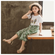 Cotton Short-sleeved Girls Color Printing Leaves Set - 130cm