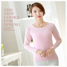 Female T-shirt With Chest Pad Tee Tops Long-sleeved Clothing Solid Round Neck