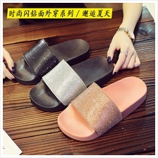 Female Casual Diamante Slip On Sliders Slippers