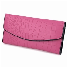 CROCODILE PATTERN LONG WALLET (ROSE MADDER)