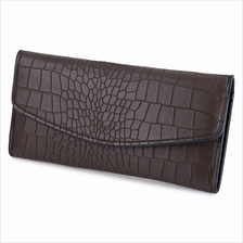 CROCODILE PATTERN LONG WALLET (COFFEE)