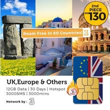 UK & Europe (60 Countries) Three 12GB Travel Prepaid Plan