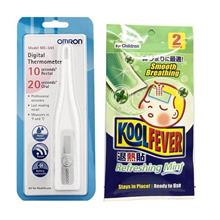 Fever Test Set : Omron Digital Thermometer MC341 + Kool Fever 2pc