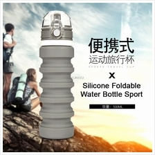 Silicone Collapsible Foldable Water Bottle Sport School Outdoor 500ml