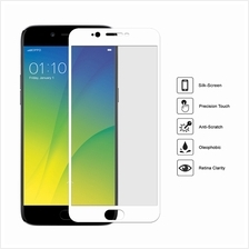 ( WHITE ) OPPO R9S PLUS Full Cover Colour Clear Tempered Glass Screen Protecto