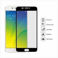 ( BLACK ) OPPO R9S PLUS Full Cover Colour Clear Tempered Glass Screen Protecto