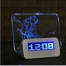 NEW! Blue LED Light Fluorescent Message Board Alarm Clock Date