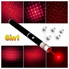 6 in1 Laser Pointer Pen Powerful Star Cap Laser (Green/Red)