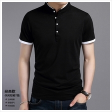 Summer T-Shirt Solid Cotton Stand Collar Tees Slim Casual Tops