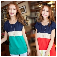 Short Sleeve Chiffon Women T-Shirt Three Color Stitching