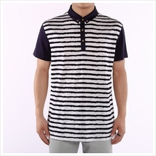 Men Striped T shirt Short Sleeve Turn-Down Collar Slim Fit Cotton