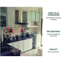 Park Villa Townhouse for rent, Fully Furnished, Bandar Bukit Puchong 2