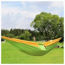 ONE PERSON ASSORTED COLOR PARACHUTE NYLON FABRIC HAMMOCK WITH STRONG ROPE (YEL