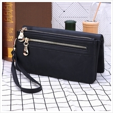 Double Zipper Women Wallets Long Clutch With Wrist Strap