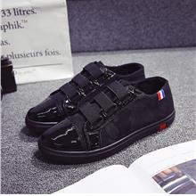 Men's Black Velcro Strap Pedal Shoes Casual Student Fashion Trend Male
