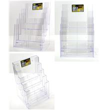 Multi Compartment Tiered Literature Holder A4 5 Layer Tray Acrylic