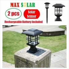 2pcs MaxSolar SL021 Solar Powered Decorative Pillar Ground LED Light