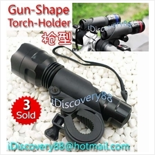 Bicycle Torch FlashLight Holder (Gun Shape) for MTB/RB Bike Cree U2 T6