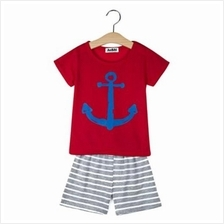 2PCS BOYS CARTOON PRINTED SHORT SLEEVE ROUND NECK T-SHIRT SHORTS (RED)