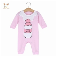RABBIT BEIEN COTTON CUTE ROUND COLLAR BABY MILK PRINT JUMPSUIT (PINK)