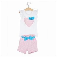 2PCS STYLISH SLEEVELESS BOWKNOT HEART PATTERN CLOTHING SET FOR GIRLS (PINK)