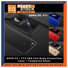 OPPO F5 360 Full Body Protection Case + Tempered Glass