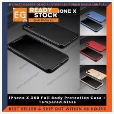 iPhone X 360 Full Body Protection Case + Tempered Glass