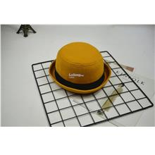 Hat female Korean jazz curling dome small hat- Yellow