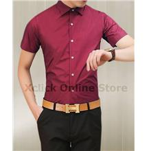 Men's Slim shirt - Korean version of Slim short-sleeved shirt- red