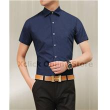 Men's Slim shirt - Korean version of Slim short-sleeved shirt- Blue