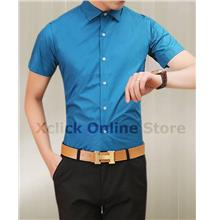 Men's Slim shirt - Korean version of Slim short-sleeved shirt- skyblue