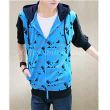 Men sports Slim hooded Jacket Korean tide-Blue