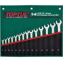 TOPTUL GRAW1401 14PCS PRO COMBINATION 15° OFFSET WRENCH SET