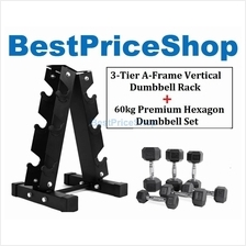 60KG Premium Hexagon Dumbbell Set with 3-Tier A Frame Dumbbells Rack