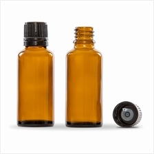 30ml Bottle Amber Glass with screw lock cap and plug