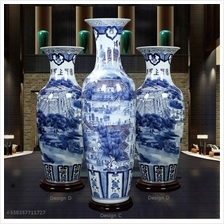 558357711727 hand painted blue and white vase