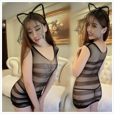 Black Sexy.Body Stocking Dress Sexy Lingerie Costume with Hair Accesso