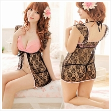 Pink Princsee Lace Babydoll Dress + G-string Sleepwear Lingerie S336