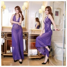 Purple Halter Long Dress Set Sleepwear Sexy Lingerie S375
